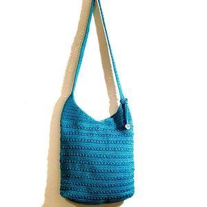The Sak Originals teal blue crossbody crochet bag